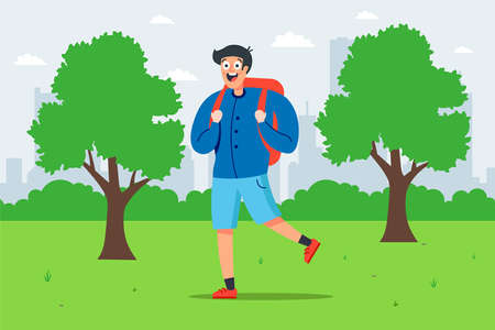 boy with a backpack walks in a green park. flat vector illustration. Illustration