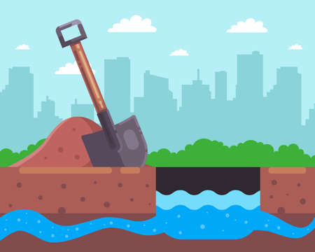 dig a hole for a well. find an underground river. flat vector illustration.