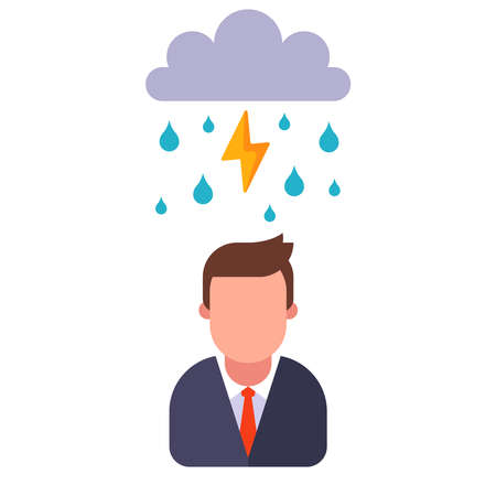 man gets wet in the rain. go out for a walk in bad weather. flat vector illustration isolated on white background. 向量圖像