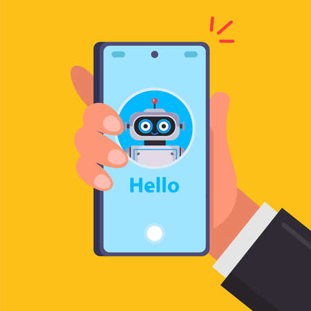 hand holds a smartphone. smiling robot on the phone screen. flat vector illustration.