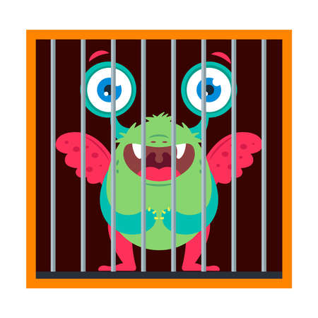 the monster is trapped. cage a cute creature. flat vector illustration isolated on white background.