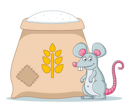 a large bag of flour in the barn. rodents spoil food. 版權商用圖片 - 165003776