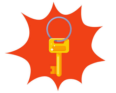 small gold key on an iron ring. flat vector illustration.