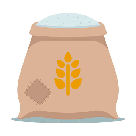 a sewn sack with white flour in the barn. flat vector illustration.
