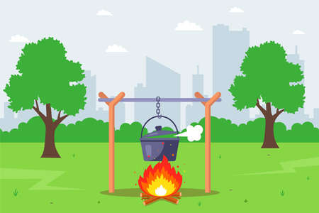 cook over a fire in the forest. cooking food in pots. flat vector illustration. 版權商用圖片 - 165003716