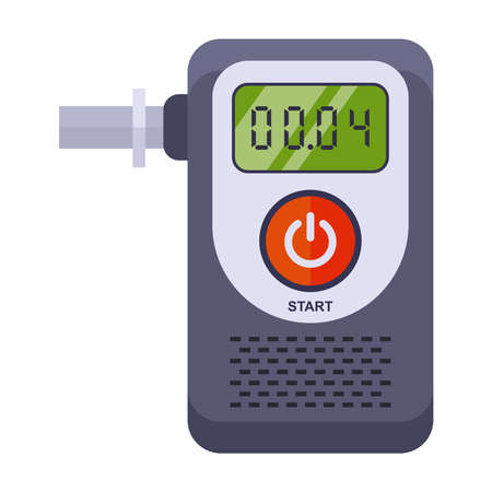 a device for determining the intoxication of a person. breathalyser on a white background. flat vector illustration.