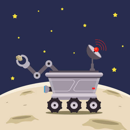 lunar vehicle explores the moon. flat vector illustration. Illustration