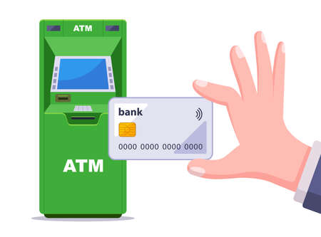 withdrawing cash from a green ATM. hand holds a plastic credit card. flat vector illustration isolated on white background.