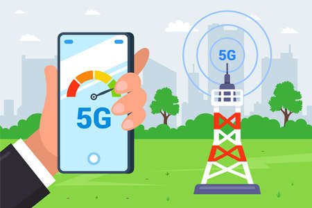 a tower that distributes 5G Internet. hand holds a smartphone that measures internet speed. flat vector illustration. 向量圖像