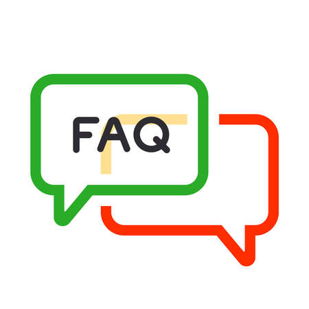 color icon frequently asked question. flat vector illustration.