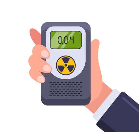 Dosimeter for measuring radiation. hand holds the device. flat vector illustration.