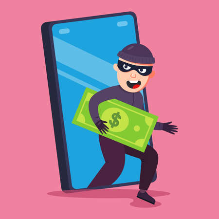 telephone fraud. a criminal steals money from your smartphone. flat vector illustration.