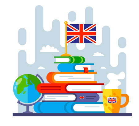 mountain from books on the study of the English language. goal in learning a foreign language. flat vector illustration. 版權商用圖片 - 165254077