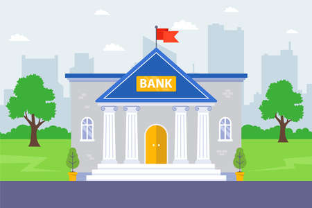 bank building on the background of the city. financial institution. flat vector illustration. Illustration