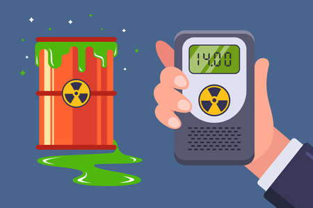 leakage of nuclear waste. measurement with a dosimeter for radiation. flat vector illustration.