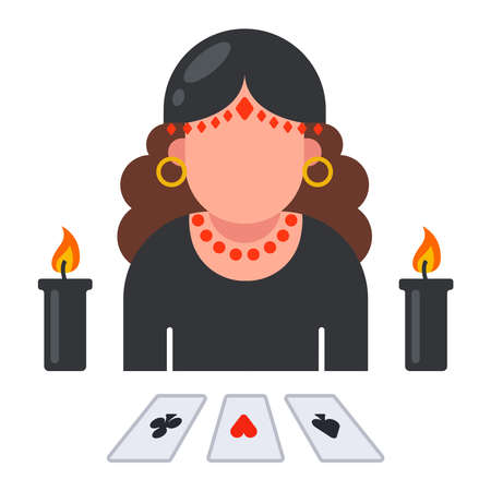 fortune teller icon with laid out cards. predict the fate of a person. flat vector illustration. 向量圖像