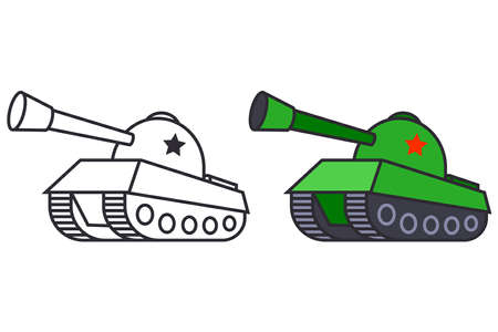 a set of two tank pictures. military equipment in color and black and white. flat vector illustration. 向量圖像