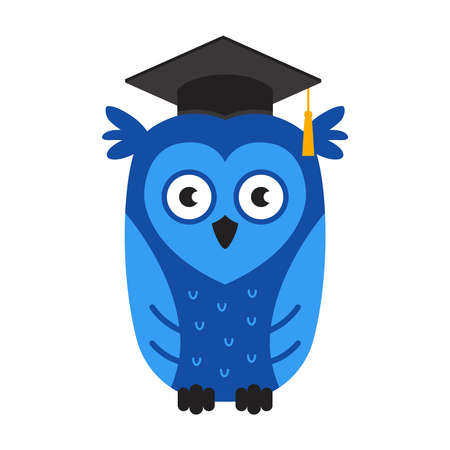 blue smart owl in a hat. symbol of knowledge and university graduation. flat vector character illustration. Illustration