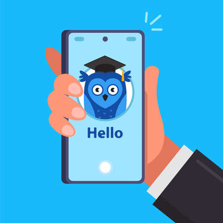 phone app for online learning. smart application on a smartphone. flat vector illustration. 向量圖像