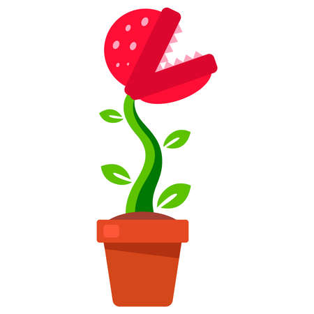 plant with teeth growing in a flower pot. flat vector illustration.