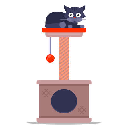 scratching post for a domestic cat. corner for the animal. flat vector illustration.