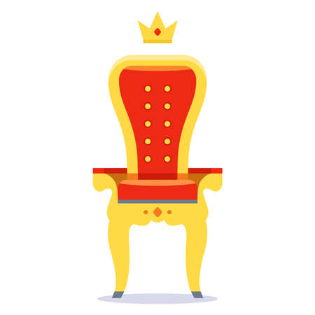 royal throne of gold and red velvet on a white background. flat vector illustration.