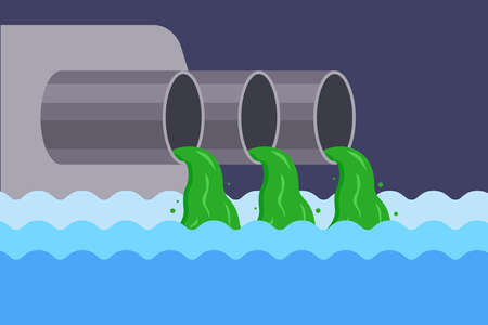 pollution of the river with sewage from the factory. throw rubbish into the water. contamination of drinking water. flat vector illustration. Illustration