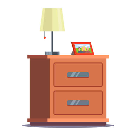 bedside table with lamp and photo frame. flat vector illustration isolated on white background. Illustration