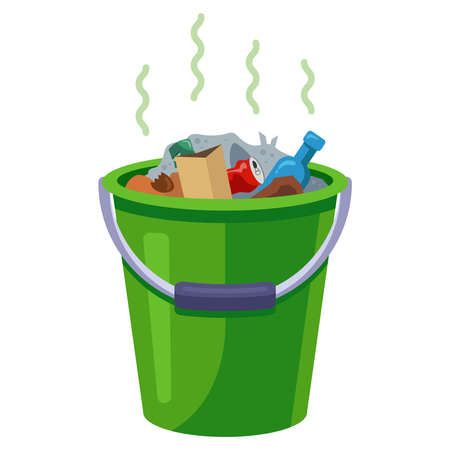 trash bin with waste in the kitchen. flat vector illustration isolated on white background. Иллюстрация