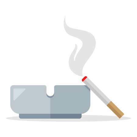 cigarette smoke from a cigarette lies on an ashtray. flat vector illustration isolated on white background. Иллюстрация