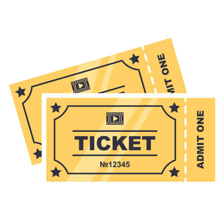 two golden tickets to the cinema. flat vector illustration isolated on white background.