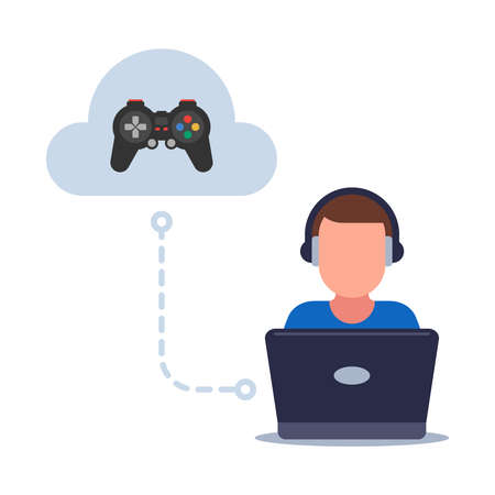 cloud gaming on a weak computer. saving games in the cloud. flat vector illustration. Illustration
