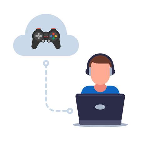 cloud gaming on a weak computer. saving games in the cloud. flat vector illustration. Иллюстрация