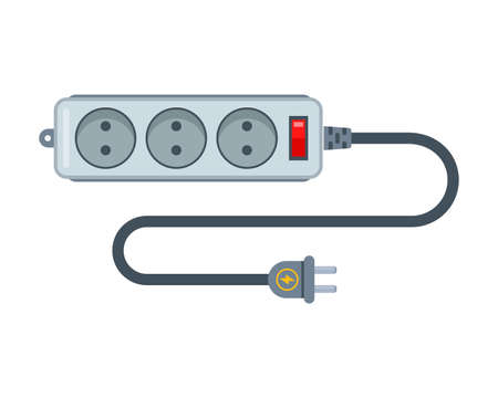 Power strip for supplying electricity through an outlet. flat vector illustration isolated on white background. Иллюстрация