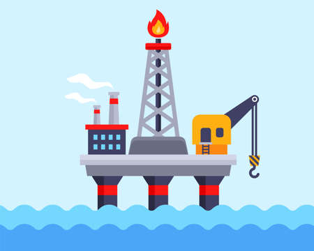 oil platform in the ocean for oil production. flat vector illustration.