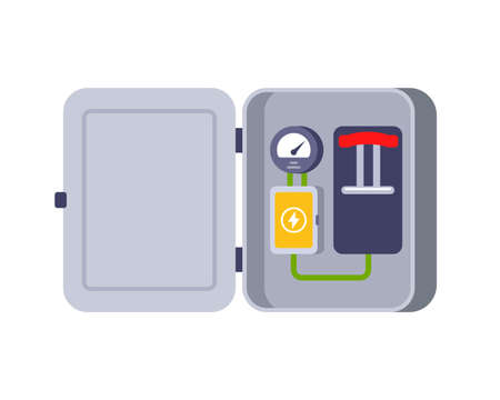 iron box with electrical equipment. a switch to turn off the electricity. flat vector illustration on white background.