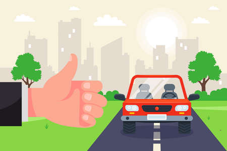 catch a car on the hitchhiking track. travel by car around the country. flat vector illustration.