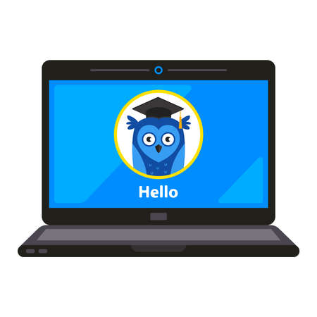 distance learning for children. developmental program on the computer. flat vector illustration isolated on white background.
