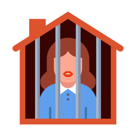 girl on house arrest. woman housewife in a cage. flat vector illustration.