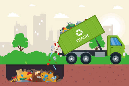 disposal of waste in a garbage pit. it is illegal to put garbage in. flat vector illustration. Иллюстрация