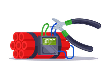 rewire the cable from the clock bean. the work of a sapper on a time bomb. flat vector illustration isolated on white background.