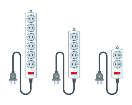 electric extension cord for household appliances. a set of different extender lengths. flat vector illustration isolated on white background. Иллюстрация