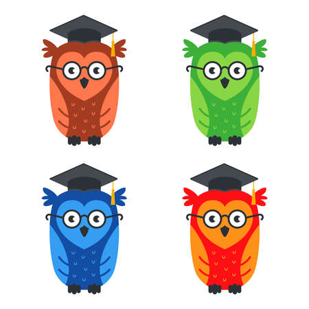 set of multi-colored smart owls with glasses. flat vector illustration isolated on white background.