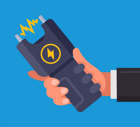 a man holding a stun gun in his hand. flat vector illustration on blue background. 向量圖像