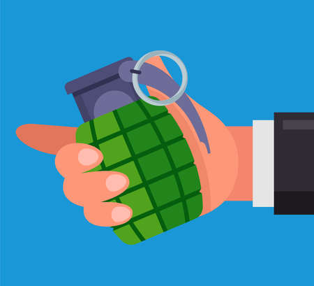 man holds a combat grenade in his hand. threatens to blow himself up. flat vector illustration. 向量圖像