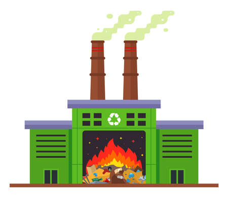 waste incineration plant and emission of harmful substances into the atmosphere. flat vector illustration isolated on white background. Banque d'images - 167044620