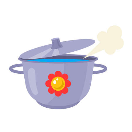 an iron pan with a lid prepares soup on a white background. flat vector illustration.
