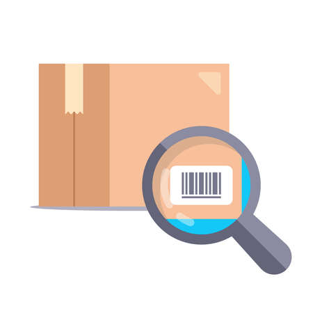 magnifying glass checking barcode on cardboard box. flat vector illustration Illustration