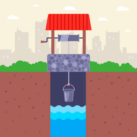 a stone country well with clean water. raise a bucket of water. flat vector illustration.