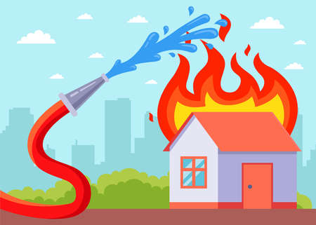 a burning house is being extinguished from a hose. flat vector illustration.